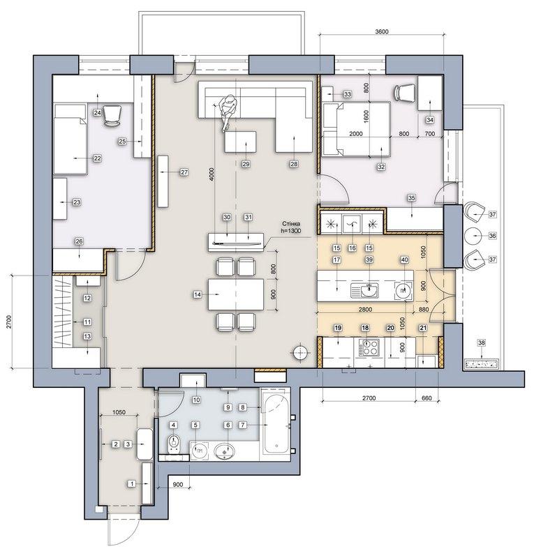 План квартири після переобладнання під апартаментів