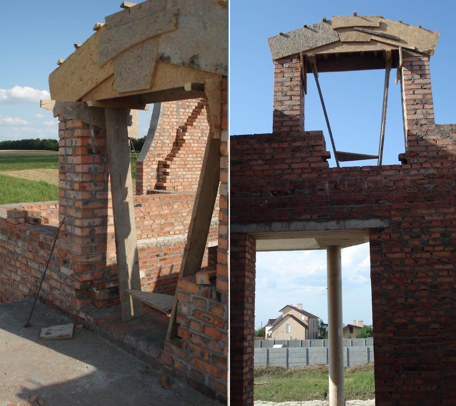 Влаштування монолітної балки над вікном другого рівня. Як видно з фото в процесі будівництва було прийняте рішення розширити пройом.