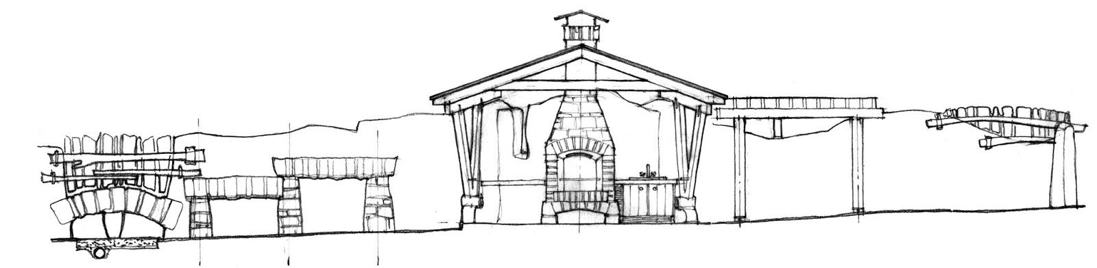 Фрагмент огорожі зі сторони будинку. Вигляд на барбекю