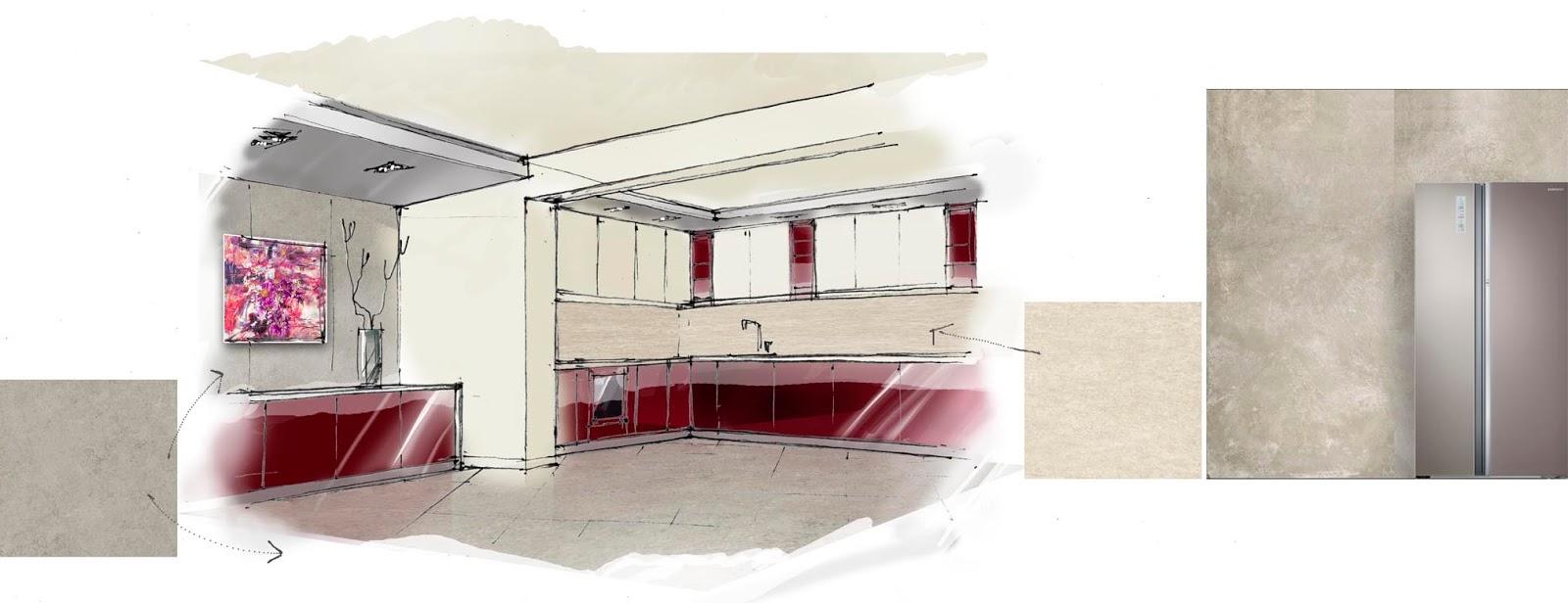 Ескіз приміщення кухні. Концепція дизайну.