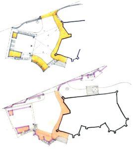 Варіанти розташування гаражу з різним кутом орієнтації відповідно до заїзду.