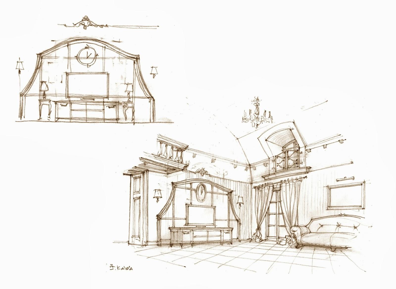 Ескіз вітальні з виглядом у напрямку виходу на терасу.