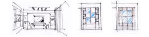 Ескіз вбудованого в гіпсокартонну конструкцію серванту.