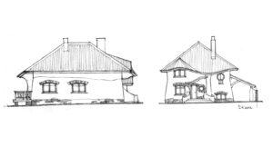 Ескізи фасадів будинку (зі східної і південної сторони)