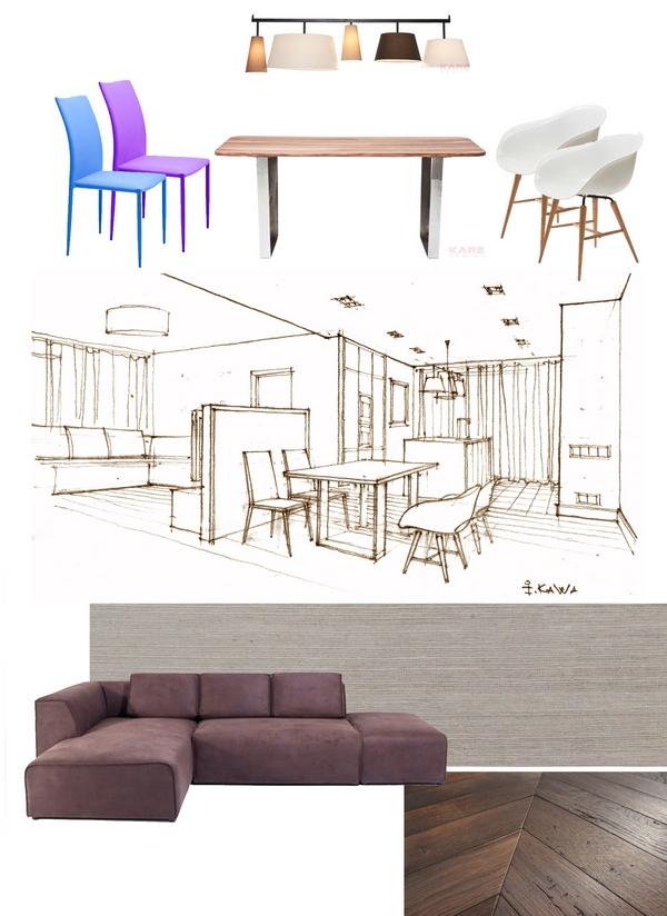 Відкритий простір вітальні, столової та кухні.