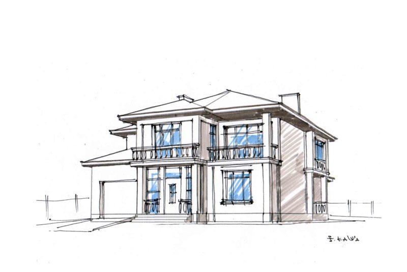 Ескіз будинку з південно-східної сторони. Поточний варіант.